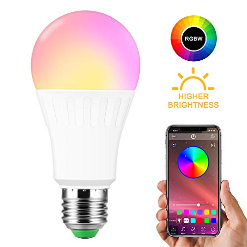 Konesky E27 RGBW Bombilla de altavoz Bluetooth 10W Temporizador de luz de música LED con cambio de color regulable con control de aplicación para el hogar, el escenario, la fiesta