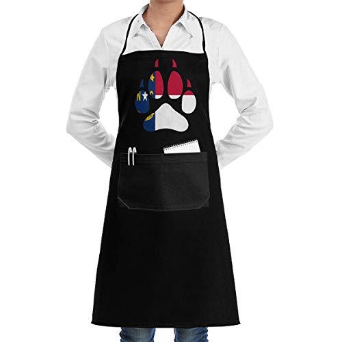 Eliuji Delantal Overlock para Mujer para Hombre Bandera de Carolina del Norte Wolf Paw Delantal de Cocina Dacron cómodo para Mujer