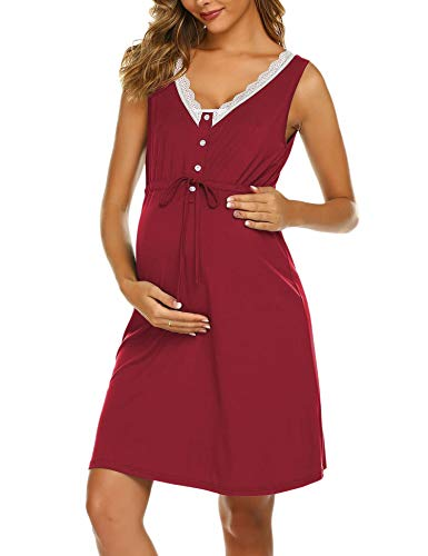 Unibelle - Camicia da notte da donna, per allattamento, per il premaman Colore: rosso L