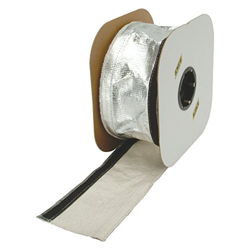 Design Engineering 010405B50 1/2 - 1-1/4 I.D. x 50ft Spool Aluminized Sleeving for Ultimate Heat Protection (with Hook and Loop Closure)