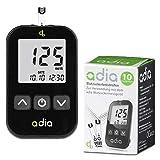 Glucómetro adia (mg/dl) incl. 10 tiras reactivas para diabéticos para controlar la glucosa en...