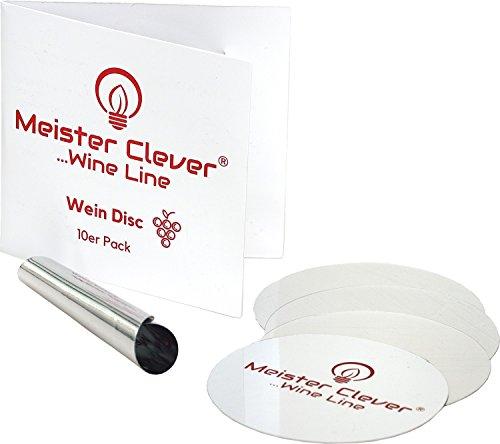 Meister Clever 10er-Pack Wein Disc zum tropfenfrei einschenken | Ausgießer Plättchen | Einschenkhilfe | Weinausgiesser | Weinzubehör
