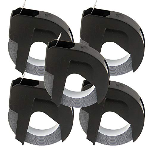 5 Bubprint Prägebänder kompatibel für Dymo S0847730 Vinyl-Prägeetiketten Rolle 9 mm x 3m für Junior, Omega, Embossing, Organizer Xpress Pro, Jet, Maxi 1755 Etikettenprägegerät Label maker Schwarz