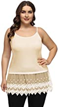 Women's Summer Casual Pleated Flowy Tank Top with Lace Trim Extender Nude 18W