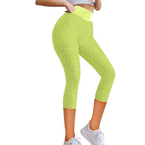 Sugely Pantalones de yoga para mujer, cintura alta, gimnasio, correr, ejercicio, entrenamiento, leggings de secado rápido, color sólido, siete puntos de deportes, pantalones de fitness