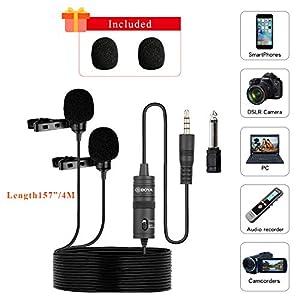 Tonor - Mini micrófono de doble cabeza para la solapa, condensador ...