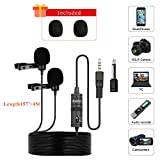 BOYA Professional Dual Lavalier Microphones, Omnidirectional Condenser Clip-on Lapel Mic for Camera, DSLR, iPhone, Android, Samsung, Huawei, Sony, Laptop, Guitar, Great for Interview, Youtube, Rap, Po