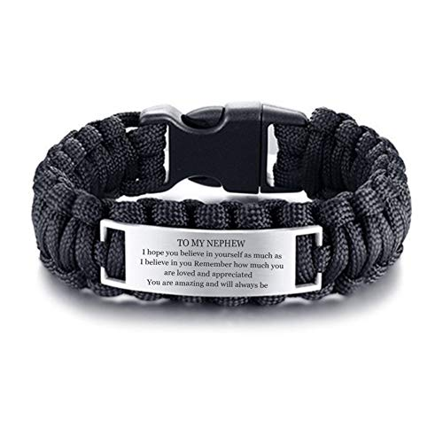 LF Stainless Steel to My Nephew Bracelet,Outdoor Rope Paracord Survival Motivational Inspirational Sentiment Cuff Bracelet Bangle for Nephew from Uncle Aunt for Hiking Camping Hunting Activities