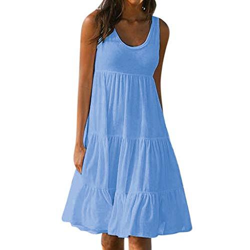 Vimoli röcke Damen Sommer Kleider Frauen Feiertags Sommer festes ärmelloses Party Strand Kleid(Blau,M)