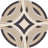 Morbuy Tapete Redondo Felpudos Alfombra Geometría Antideslizante Alfombras Piso Moqueta Mats Pad para Habitación Lavable Decorativo Suave Superficie (100cm, Geometría)