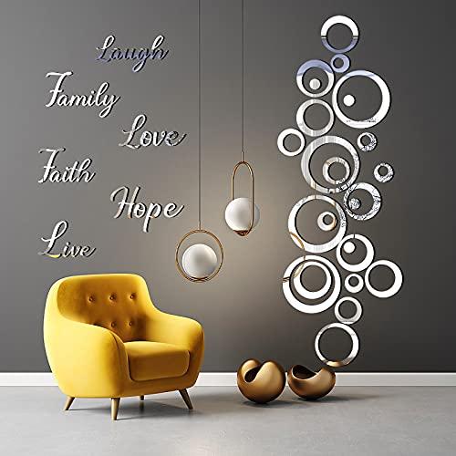 SelfTek 48 unidades de espejos acrílicos adhesivos para decoración pared, espejo pared autoadhesivo, redondo redondo, cuadrado, azulejos, espejos, hojas espejo, plástico, decorativos salón