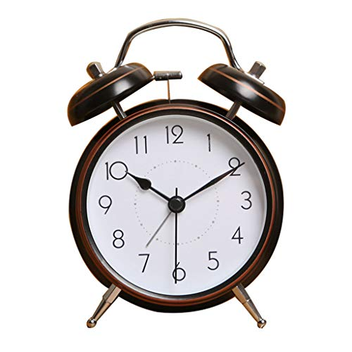 ZHZLX-alarm clock MéCanique RéVeil Double Cloche RéVeil Classique RéTro RéVeil avec Veilleuse RéVeillez-Vous Fortement DéCoration De La Maison De Chevet Chambre Bureau Cadeau d'affaires 4 Pouces