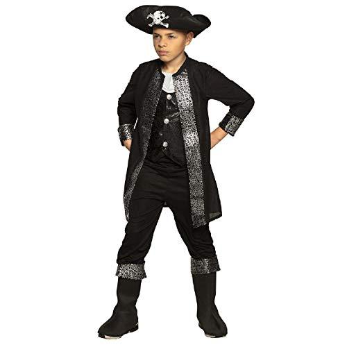 Boland 82284 - Kinderkostüm Pirat Thierry, für Jungen zwischen 7 und 9 Jahren, ca. 130-140 cm, Hut, Jacke mit Brusteinsatz, Hose, Stiefelstulpen, Kostümset, Seeräuber, Freibeuter, Karneval