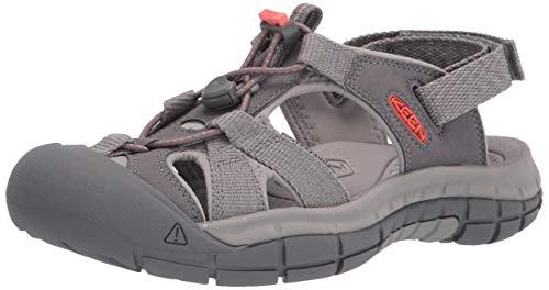 KEEN Women's Ravine H2 Sport Sandal, Steel Grey/Coral, 5.5