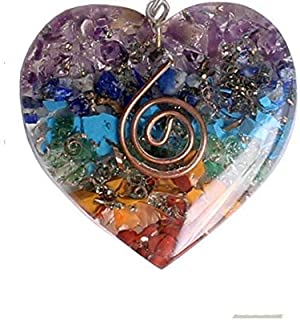 7 Chakra Crystal Healing Orgone Heart Shape Pendant with Copper Wire Orgonite EMF Protection Necklace for Men and Women by...