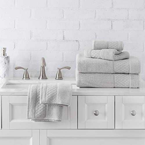 Welhome Hudson 100% Pure Organic Cotton Quality 6 Piece Luxury Bath Towel Set - Durable - High Absorbency - Hotel Spa Bathroom Towel - 651 GSM - 2 Bath - 2 Hand - 2 Wash Towels - Glacier Grey