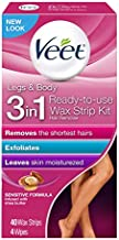 Veet Leg & Body Hair Removal Kit- Sensitive Formula, Ready-to-use Cold Wax Strips, Shea Butter & Acai Fragrance, 40 Count (Pack of 1)