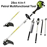 COSTWAT 4-in-1 Petrol Multi Functional Garden Tool Including Hedge Trimmer, Grass Trimmer, Brush Cutter, Pruner, Long Reach Power 2-Stroke Petrol Engine with Extension Pole & Ergonomic Harness