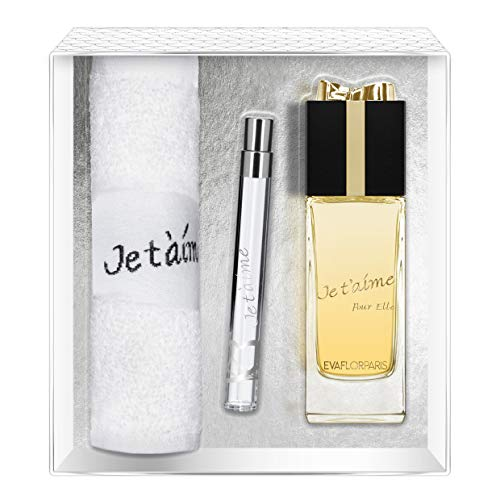 Evaflorparis Je T'Aime Pour Elle Gift Box Eau de Parfum 100 Ml + Pocket Atomizer 12 Ml + Hand Towel Set Women Spray for Her Women Perfume Evaflorparis 520 g