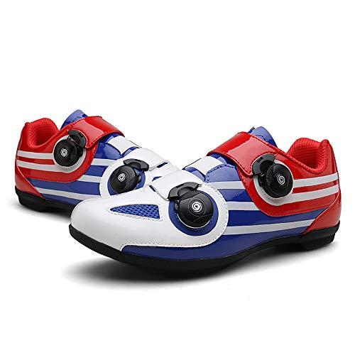 JQKA Zapatillas de Ciclismo de Carretera para Mujer Zapatillas de Montar Sin Bloqueo para Bicicleta Zapatillas de Ciclismo de Interior para Hombre Zapatillas Planas(Size:37,Color:Azul Blanco)