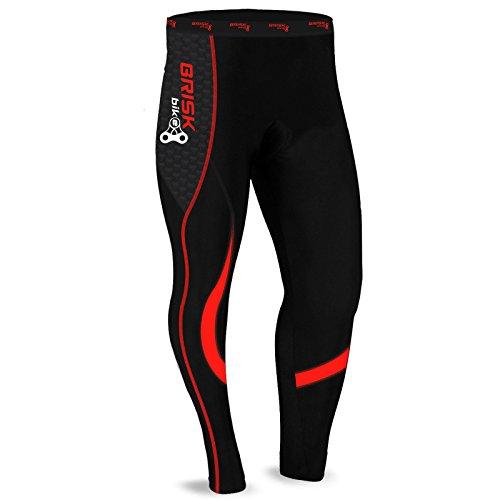 Brisk Bike Thermo-Radhosen Fahrradhosen Radsport-Leggings Fahrradhosen Radlerhosen gepolsterte Radhosen professionelle Radhosen Fahrradkleidung Mountainbike (Black/Red, XL)