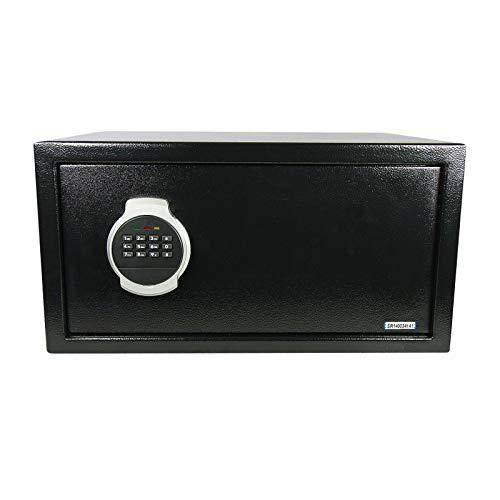Domino Tresor Safe 44x23x38cm inkl. Montagematrial | Elektronik-Zahlenschloss | LED | Laptop Möbeltresor Schwarz