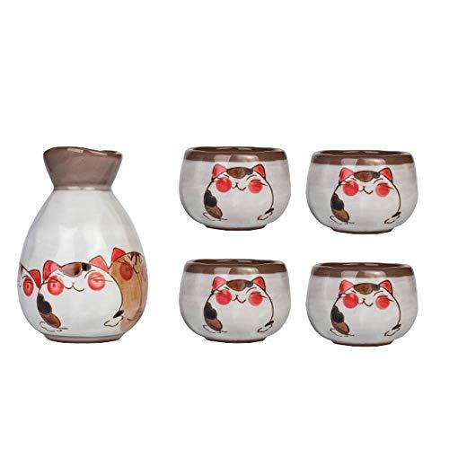 SLRMKK 5-teiliges Sake-Set, Japanisches traditionelles Keramik-Sake-Set, handbemalte schöne Katze, 4 Sake-Tassen, 1 Sake-Topf, für Wohnkultur Familie und Freunde