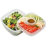Lock & Lock Salat-to-go Brotdose aus Kunststoff – 2er Vorratsdosenset – Salat Lunchbox mit Topping Einsatz und Dressing Behälter – 1,6 l