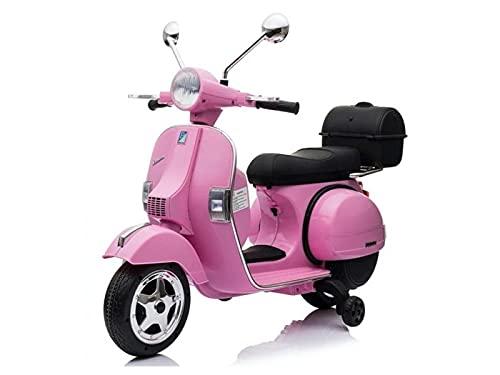 rollzone Vehículo infantil eléctrico Vespa 12V, asiento de piel, neumáticos de goma...