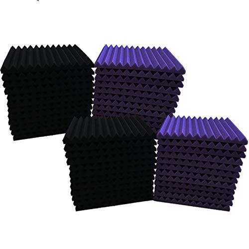 """Wandpaneele aus Akustikschaumstoffkeilen, 2,5 x 30,5 x 30,5 cm (1 x 12 x 12 Zoll), 48 Stück, Schallabsorption für Studios 1\"""" x 12\"""" x 12\"""" Violett / Schwarz"""