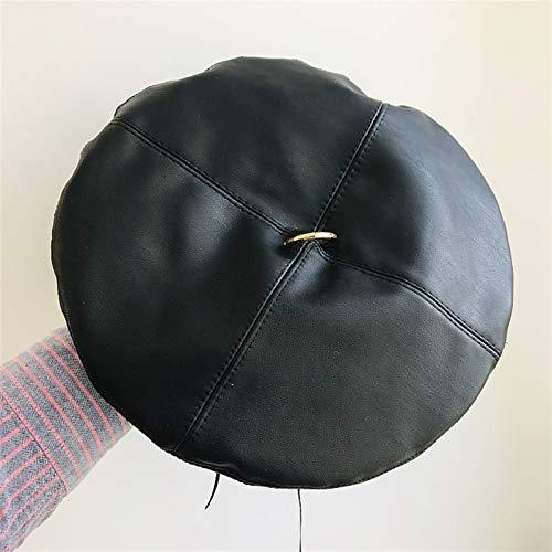 Cuero de la PU de la Boina Sombrero de los Cuatro Paneles Mujeres de la Manera del Casquillo Femenino Boinas francesas Regalo para la Familia, n (Color : Black)