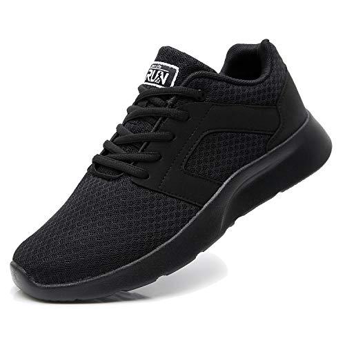 Fexkean Herren Damen Laufschuhe Sportschuhe Outdoor Straßenlaufschuhe Atmungsaktiv Leichtgewicht Joggingschuhe Fitness Walkingschuhe (8996 Black 44)