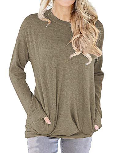 Dutebare Womens Long Sleeve Shirts Pocket Tunic Sweatshirt Loose Blouse Tops Khaki M