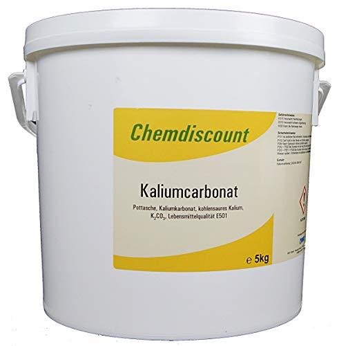 Chemdiscount Kaliumcarbonat Pottasche E501 Lebensmittelqualität 5 kg im stabilen Eimer