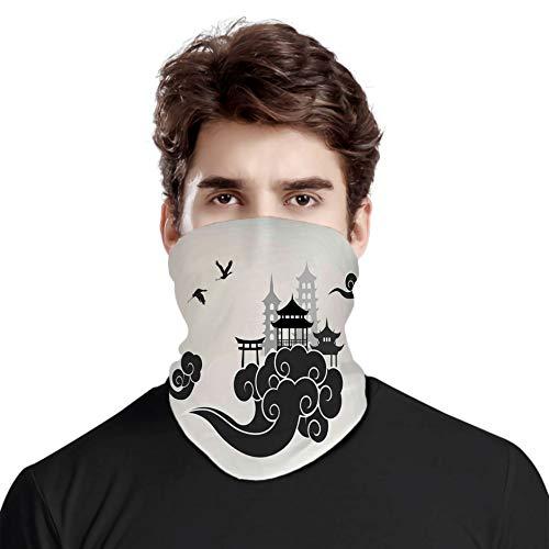 FULIYA Great Face Cover Schal Schutz Hals Asiatisches Paradise Concept Chinesische Wolken Pouff Figuren und Pavillon, Variety Kopftuch Unisex