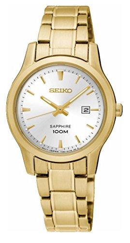 Seiko Damen Analog Quarz Uhr mit Edelstahl beschichtet Armband SXDG92P1