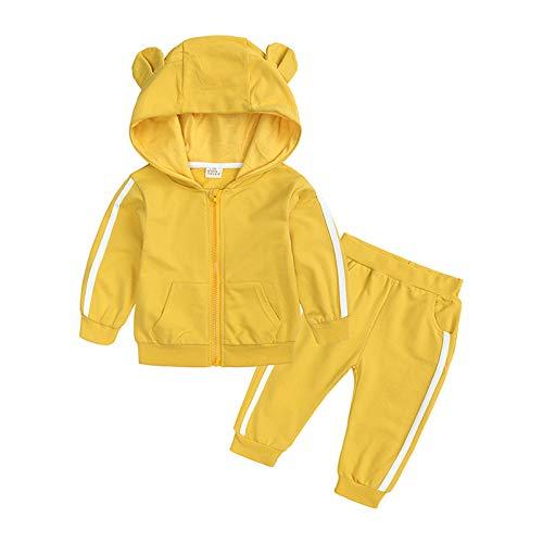 XXYsm XXYsm Baby Mantel Outfits Jungen Jacke Lange Ärmel Tops + Hosen Sport Coat Bekleidungsset Outwear Kleidung Set (Gelb , ?70/0-6 Monate)