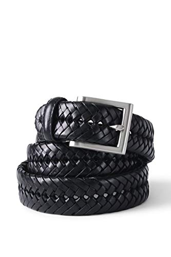 Lands' End Mens Leather Braid Belt Black Regular 38