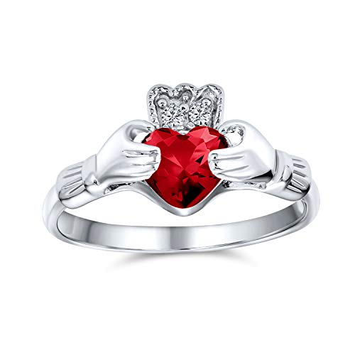 BFF Celtic Irish Friendship Promise AAA CZ Simulated Ruby Red Hands & Heart Claddagh Ring For Women Teens 925 Sterling Silver