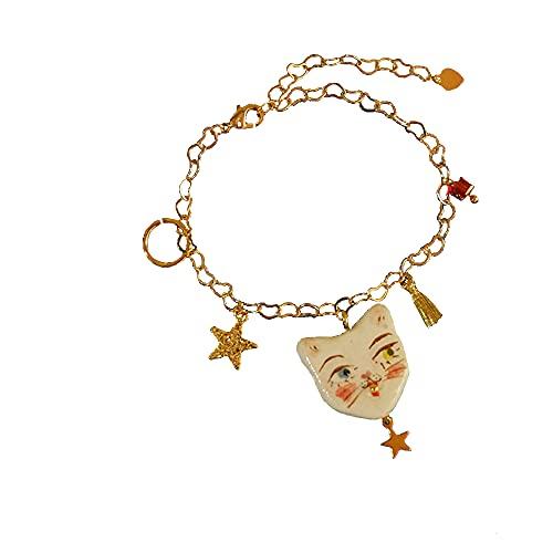 SXYB Collar de Gato de Oro de 18k, Joyas de Gatos Blancos,...