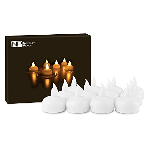Novelty Place LED Floating Candles, Flameless Tea Lights Warm Yellow Battery Operated - Waterproof Decoration for Wedding, Thanksgiving, Christmas, Birthday Party (12 Packs)