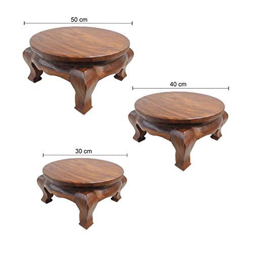 Oriental Galerie Opiumtisch Tisch Beistelltisch Massiv Holz Couchtisch Rund Natur Thailand, Größe:50cm Ø. 25cm - ca. 7.8Kg, Farbe:Hell Braun