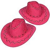 com-four® conjunto de sombreros de 2 piezas para vaqueros - sombrero occidental en rosa - sombreros ...