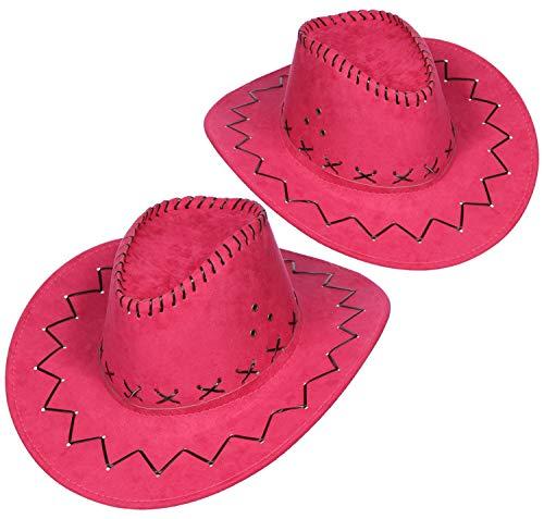 com-four® 2-teiliges Hut Set für Cowboys - Westernhut in pink - Kopfbedeckung zu Karneval, Fasching, Halloween, Mottopartys (02 Stück - Cowboy pink)