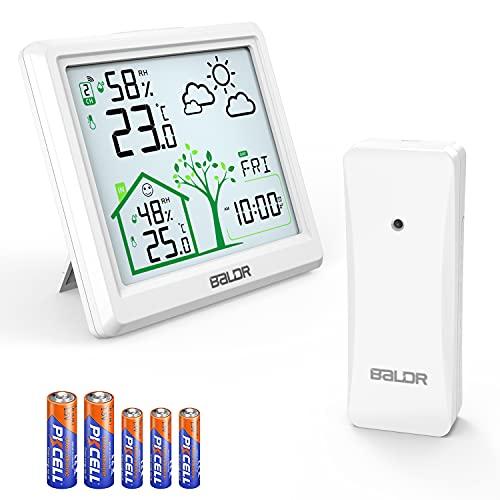 Wetterstation Funk mit außensensor, Manwe Multifunktionale Wetterstation Digital Innen und Außen Thermometer Hygrometer , Wettervorhersage, Zeitanzeige, Weckerfunktion mit 5 Originalbatterien