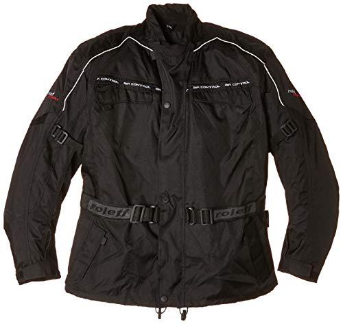 Roleff Racewear Schwarze Motorradjacke mit Protektoren, Thermofutter, Klimamembrane und Belüftungssystem für Sommer und Winter, Schwarz, Größe 5XL