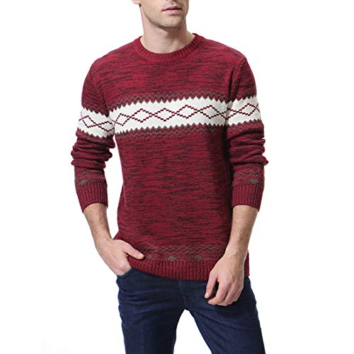 Zicac Men's Casual Long Sleeve Twisted Knitted Turtleneck Pullover Crew-Neck Knitwear Jumper Casual Knitted Pullover Sweaters (Brown, L)