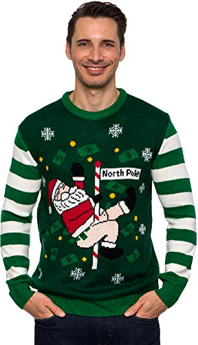 Funziez! Ugly Christmas Sweater Dancing Santa Long Sleeve Novelty Costume - Green - XL