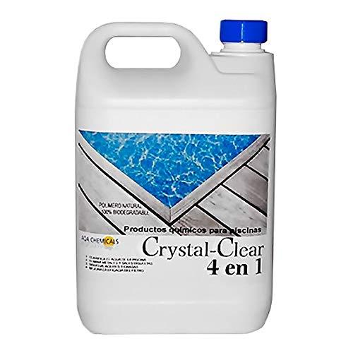Bricodomo COAGULANTE Natural 4-1 CRYSTALCLEAR 5 LT, TRANPARENCIA AL Agua, SECUESTRA Metales Y Elimina ACEITES Y Grasas DE LA Piscina