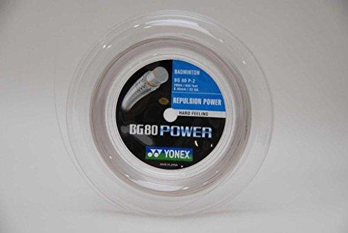 Yonex Saiten für Badmintonschläger BG80 Power, 200 m Reel Weiß weiß